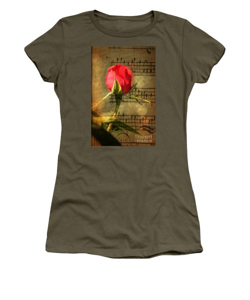 Women's T-Shirt (Junior Cut) featuring the photograph Vintage Love Story Symphony by Judy Palkimas
