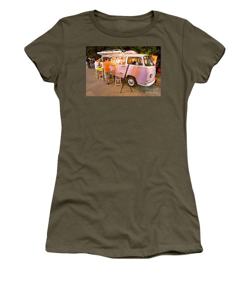 Vintage Pink Volkswagen Bus Women's T-Shirt (Junior Cut) by Luciano Mortula