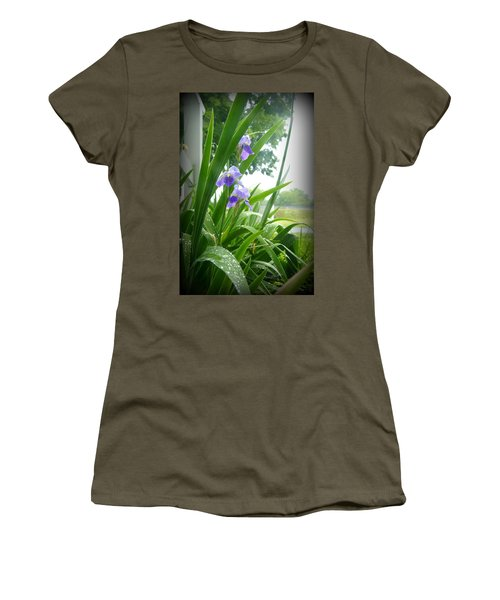 Women's T-Shirt (Junior Cut) featuring the photograph Iris With Dew by Laurie Perry