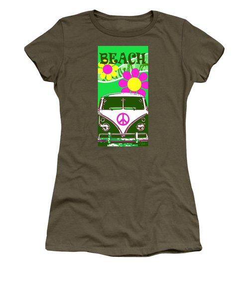 Vw Beach  Green Women's T-Shirt (Athletic Fit)