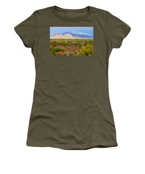 Women's T-Shirt (Junior Cut) featuring the photograph 16x20 Canvas - Superstition Mountain Light by Tam Ryan
