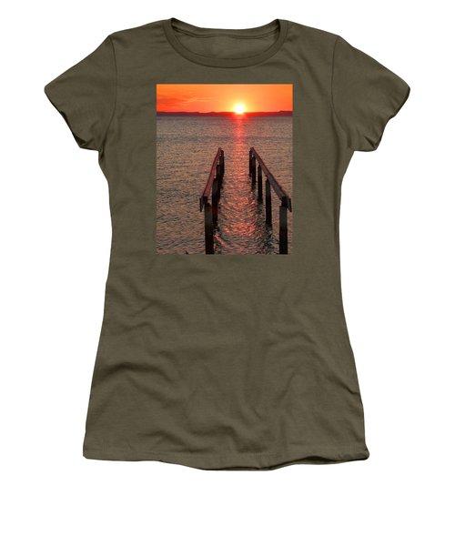 Women's T-Shirt (Junior Cut) featuring the photograph Walkway To The Sun by Alan Socolik