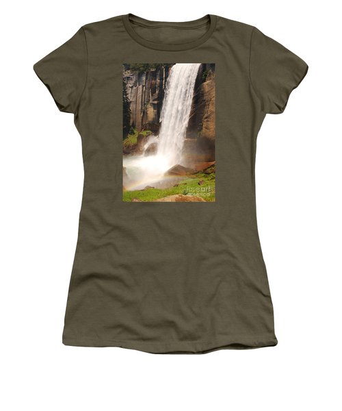 Women's T-Shirt (Junior Cut) featuring the photograph Waterfall Rainbow by Mary Carol Story