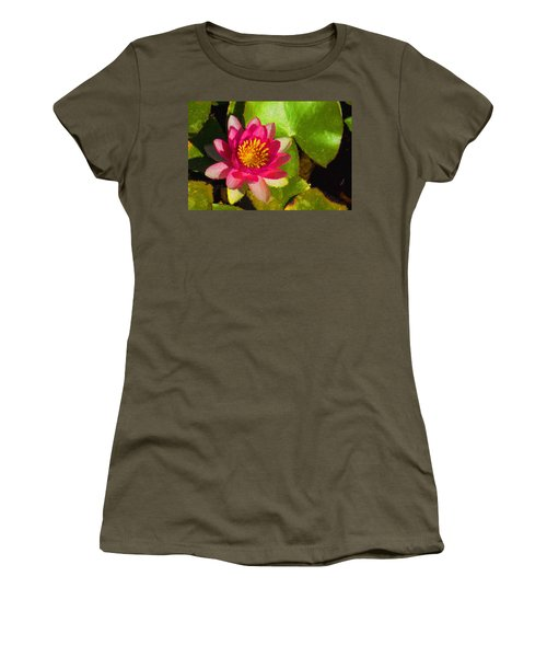Waterlily Impression In Fuchsia And Pink Women's T-Shirt