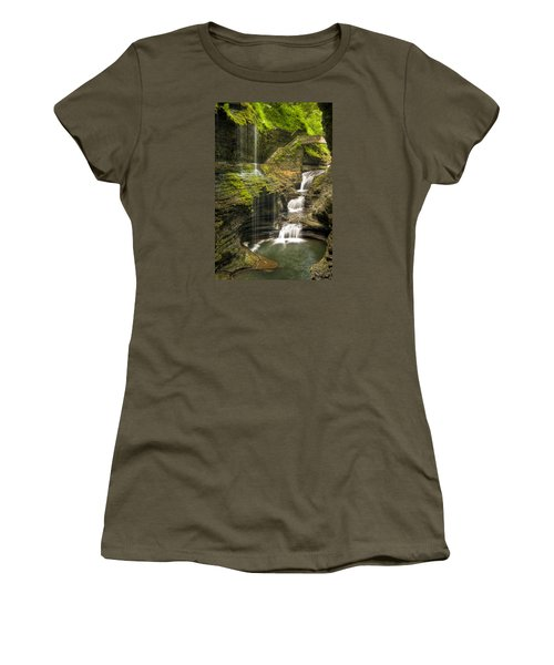 Watkins Glen Falls Women's T-Shirt (Junior Cut) by Anthony Sacco