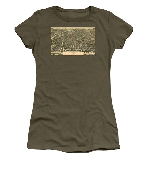 Wellge's Birdseye Map Of Denver Colorado - 1889 Women's T-Shirt (Junior Cut) by Eric Glaser