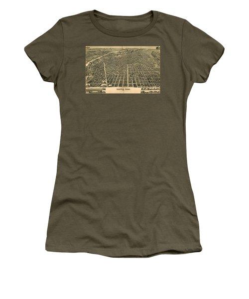 Wellge's Birdseye Map Of Denver Colorado - 1889 Women's T-Shirt (Athletic Fit)