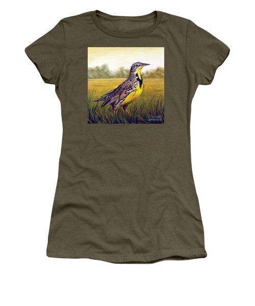 Western Meadowlark Afternoon Women's T-Shirt (Junior Cut) by Tom Chapman