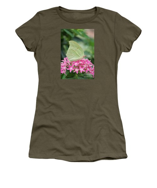 Women's T-Shirt (Junior Cut) featuring the photograph White Angled Sulphur by Judy Whitton