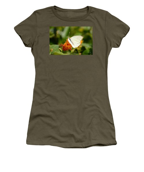 Women's T-Shirt (Junior Cut) featuring the photograph White Butterfly On Mexican Flame by Debra Martz