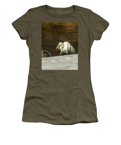 White Egret Snowy Bank Women's T-Shirt (Junior Cut) by Robert Frederick