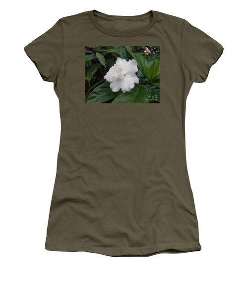 Women's T-Shirt (Junior Cut) featuring the photograph White Flower by Sergey Lukashin