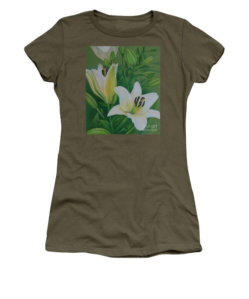 Women's T-Shirt (Junior Cut) featuring the painting White Lily by Pamela Clements