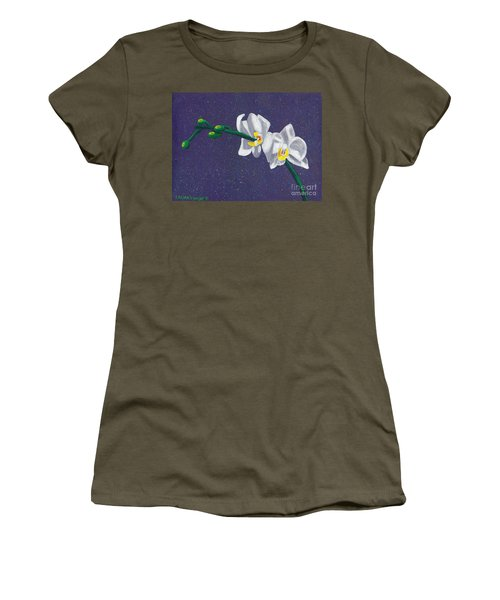 White Orchids On Dark Blue Women's T-Shirt