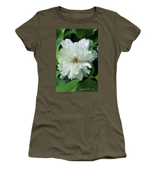 Women's T-Shirt (Junior Cut) featuring the photograph White Peonese by Verana Stark