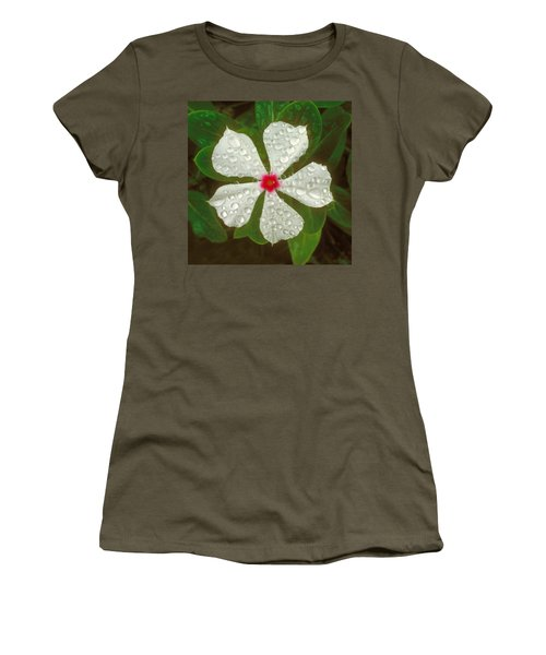 Women's T-Shirt (Junior Cut) featuring the photograph White Periwinkle by Mark Greenberg