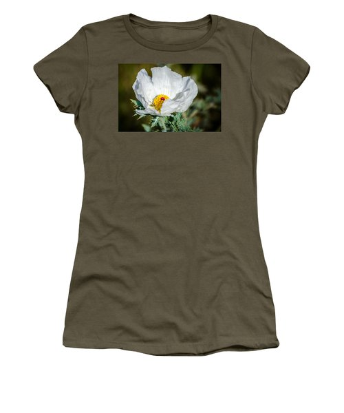 White Prickly Poppy Wildflower Women's T-Shirt (Junior Cut) by Debra Martz