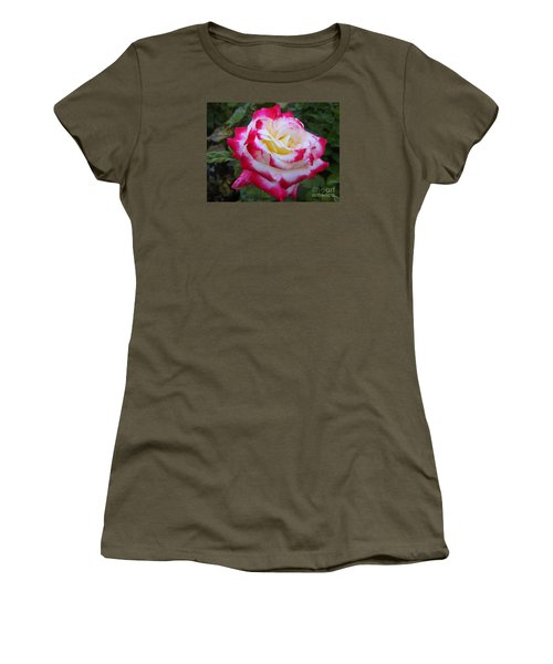 White Rose With Pink Texture Hybrid Women's T-Shirt (Junior Cut) by Lingfai Leung