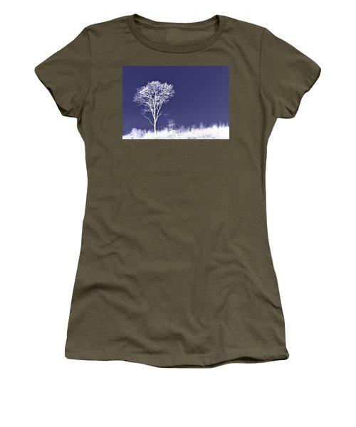 White Tree - Blue Sky - Silver Stars Women's T-Shirt