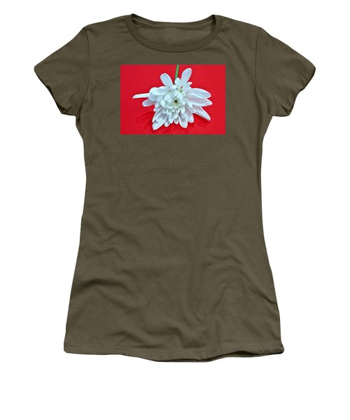 White Flower On Bright Red Background Women's T-Shirt