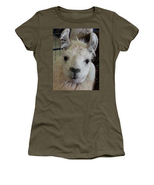 Women's T-Shirt (Junior Cut) featuring the photograph Who Me Llama by Caryl J Bohn