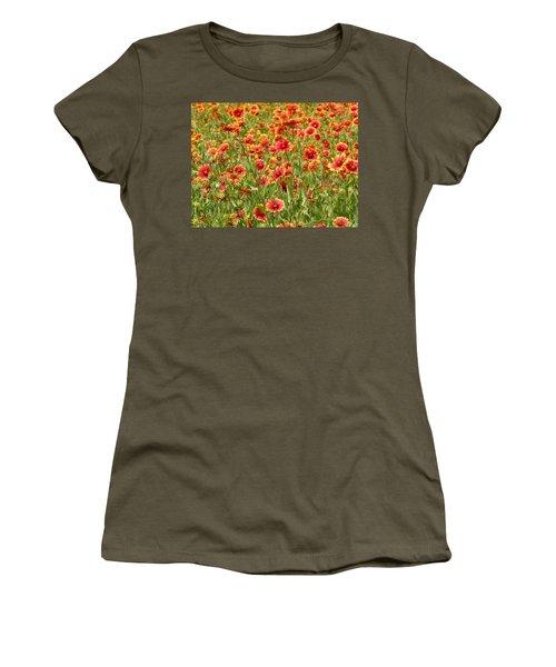 Women's T-Shirt (Junior Cut) featuring the photograph Wild Red Daisies #1 by Robert ONeil