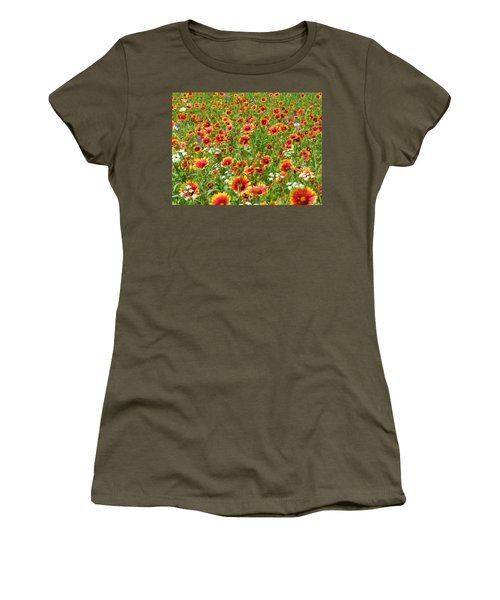 Women's T-Shirt (Junior Cut) featuring the photograph Wild Red Daisies #3 by Robert ONeil