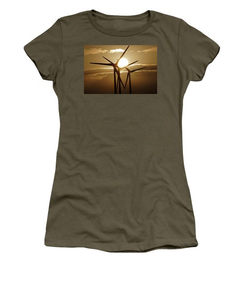 Wind Turbines Silhouette Against A Sunset Women's T-Shirt (Athletic Fit)
