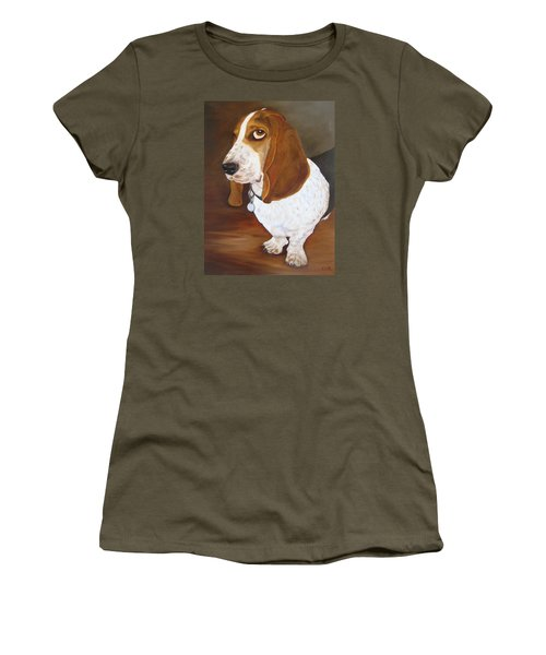 Women's T-Shirt featuring the painting Winston by Karen Zuk Rosenblatt