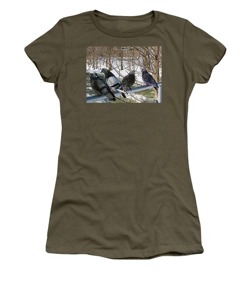Winter Pigeon Party Women's T-Shirt (Junior Cut) by Nina Silver