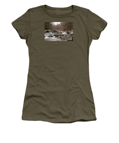 Women's T-Shirt (Junior Cut) featuring the photograph Winter Stream by Geraldine DeBoer