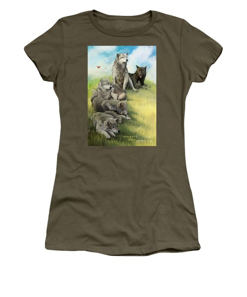 Women's T-Shirt (Junior Cut) featuring the painting Wolf Gathering Lazy by Rob Corsetti