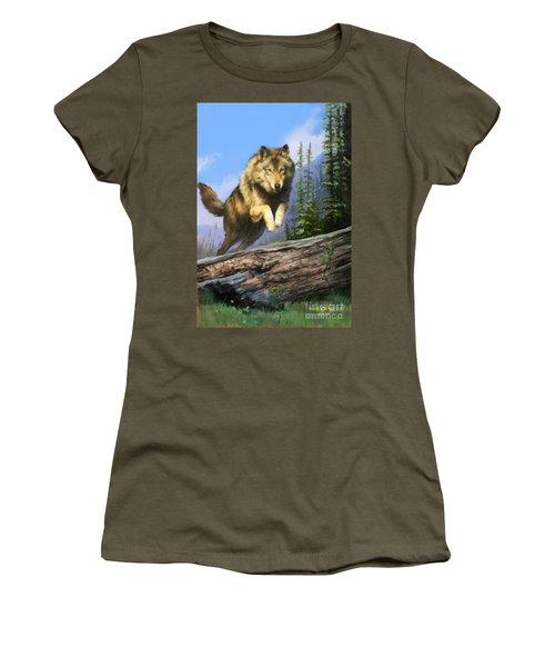 Wolf Run Women's T-Shirt (Junior Cut) by Rob Corsetti