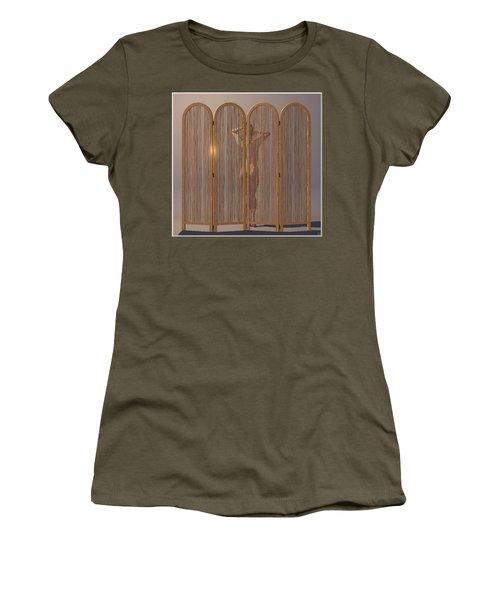 Women's T-Shirt (Junior Cut) featuring the digital art Woman Behind Screen... by Tim Fillingim