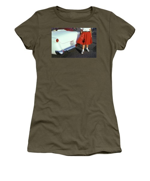 Woman In Red Poodle Skirt And Saddle Women's T-Shirt