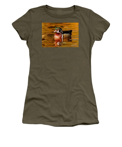 Wood-drake On The Golden Light Women's T-Shirt (Athletic Fit)