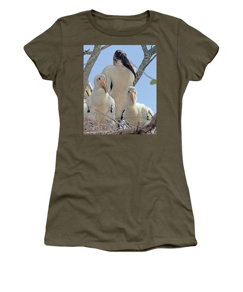 Wood Stork In Nest With Young Women's T-Shirt