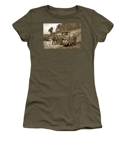 Workers On Highway One Monterey Carmel Hill California 1929 Women's T-Shirt (Junior Cut) by California Views Mr Pat Hathaway Archives