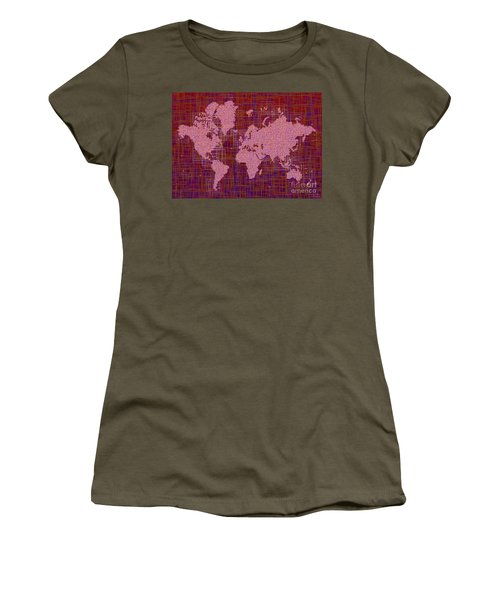 World Map Rettangoli In Pink Red And Purple Women's T-Shirt (Junior Cut) by Eleven Corners
