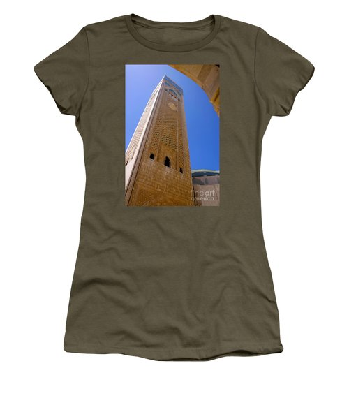 Women's T-Shirt (Junior Cut) featuring the photograph Worlds Tallest Minaret At 210m Hassan II Mosque Grand Mosque Sour Jdid Casablanca Morocco by Ralph A  Ledergerber-Photography