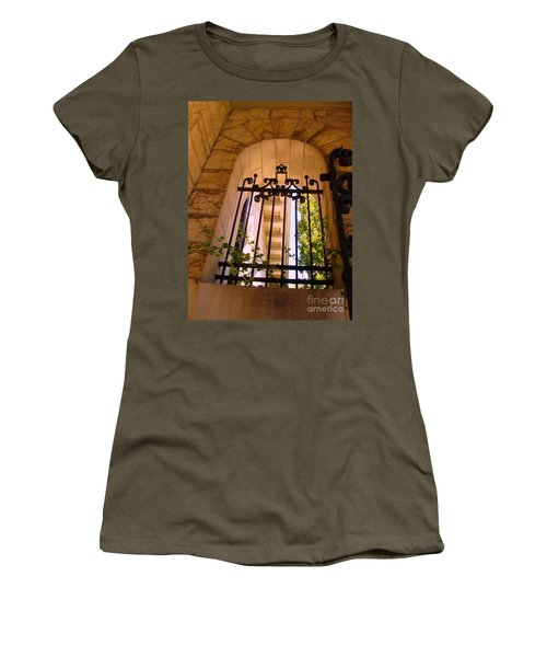 Women's T-Shirt (Junior Cut) featuring the photograph Wrought Iron Arch Window 1 by Becky Lupe