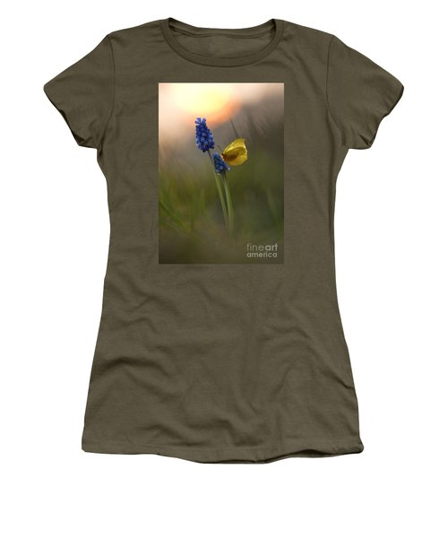 Yellow Butterfly On Grape Hyacinths Women's T-Shirt (Athletic Fit)