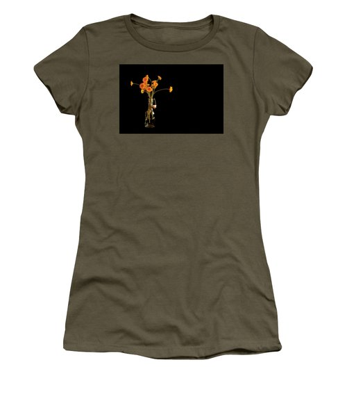 Orange Flowers On Black Background Women's T-Shirt (Athletic Fit)