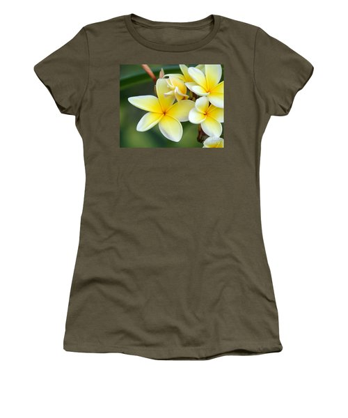 Yellow Frangipani Flowers Women's T-Shirt (Athletic Fit)