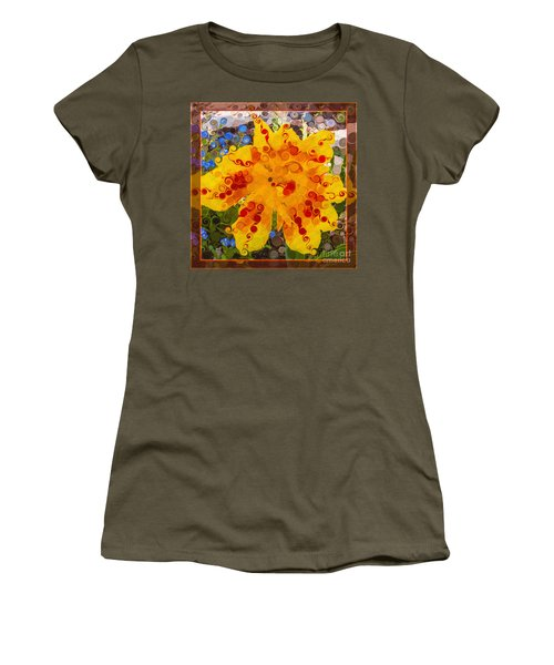 Yellow Lily With Streaks Of Red Abstract Painting Flower Art Women's T-Shirt