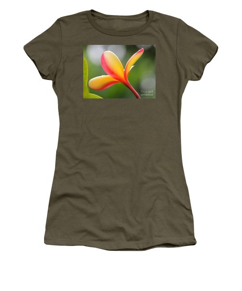 Yellow Pink Plumeria Women's T-Shirt (Athletic Fit)