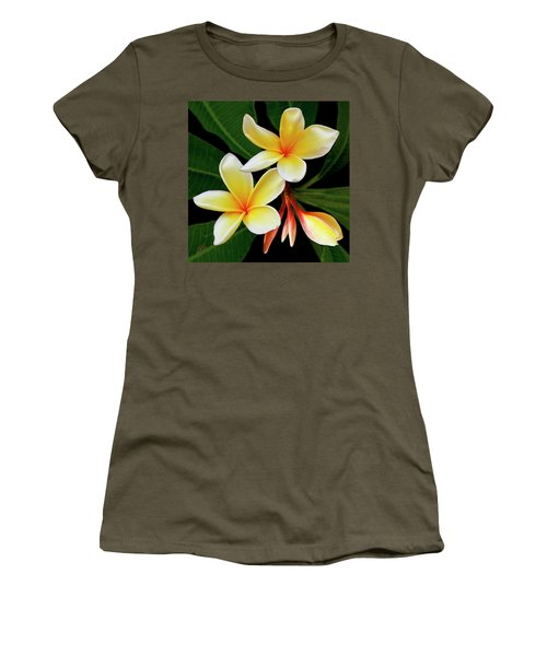 Yellow Plumeria Women's T-Shirt (Junior Cut) by Ben and Raisa Gertsberg