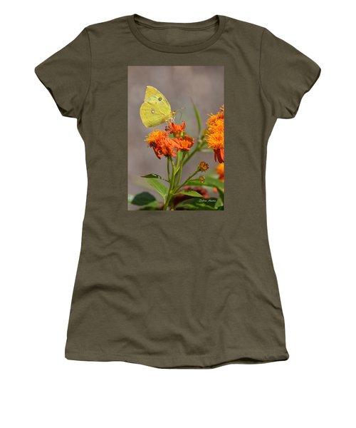Women's T-Shirt (Junior Cut) featuring the photograph Yellow Sulphur Butterfly by Debra Martz
