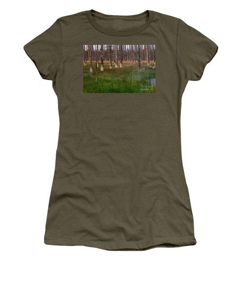 Women's T-Shirt (Junior Cut) featuring the photograph Yellowstone Mysterious Morning by Teresa Zieba