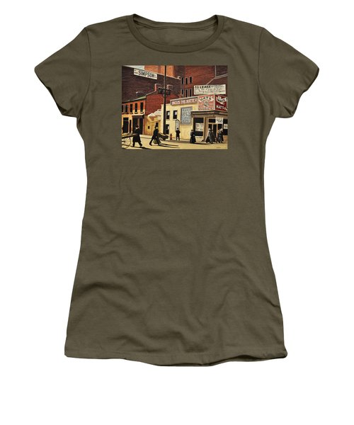 Women's T-Shirt (Junior Cut) featuring the painting Yonge And Richmond Streets 1899 by Kenneth M  Kirsch